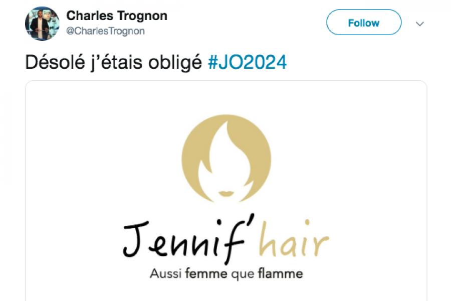 Paris 2024 screenshot Twitter Charles Trognon