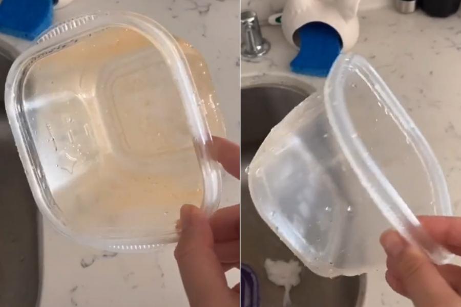 vlekken plastic potjes