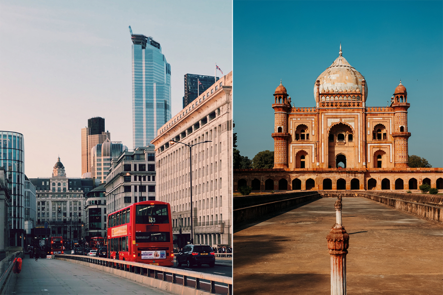 Busrit van Londen naar Delhi
