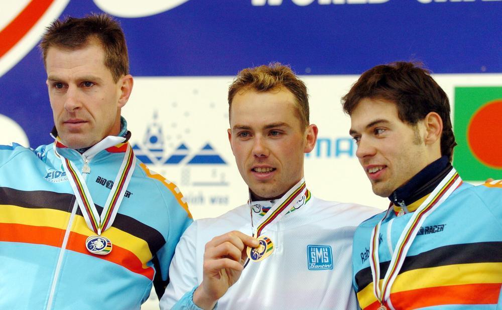 WK-podium in Sankt-Wendel 2005: Vervecken, Nys en Sven. (Foto Belga)