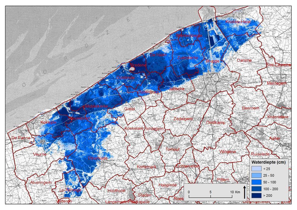 Op deze kaart zie je de gevolgen van een 17.000-jarige stormvloed.