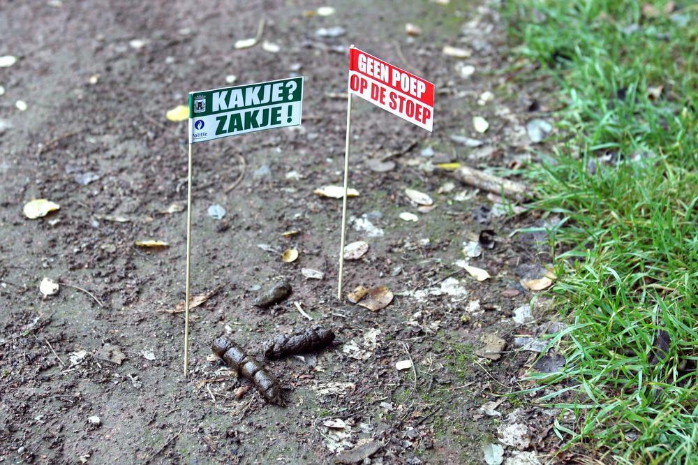 De aartsmoeilijke strijd tegen achtergelaten hondenpoep woedt al vele jaren. Zoals hier met vlaggetjes en rijmende slogans als onderdeel van een Torhoutse politieactie in 2006.