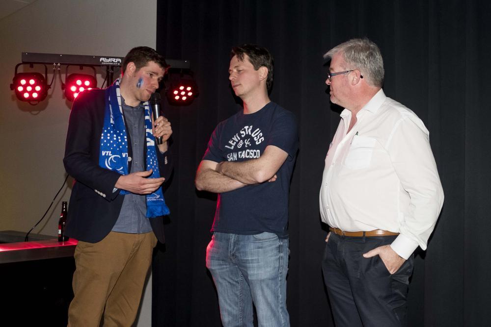 Coach Lieven Goddyn (centraal) vertrekt na dit seizoen.