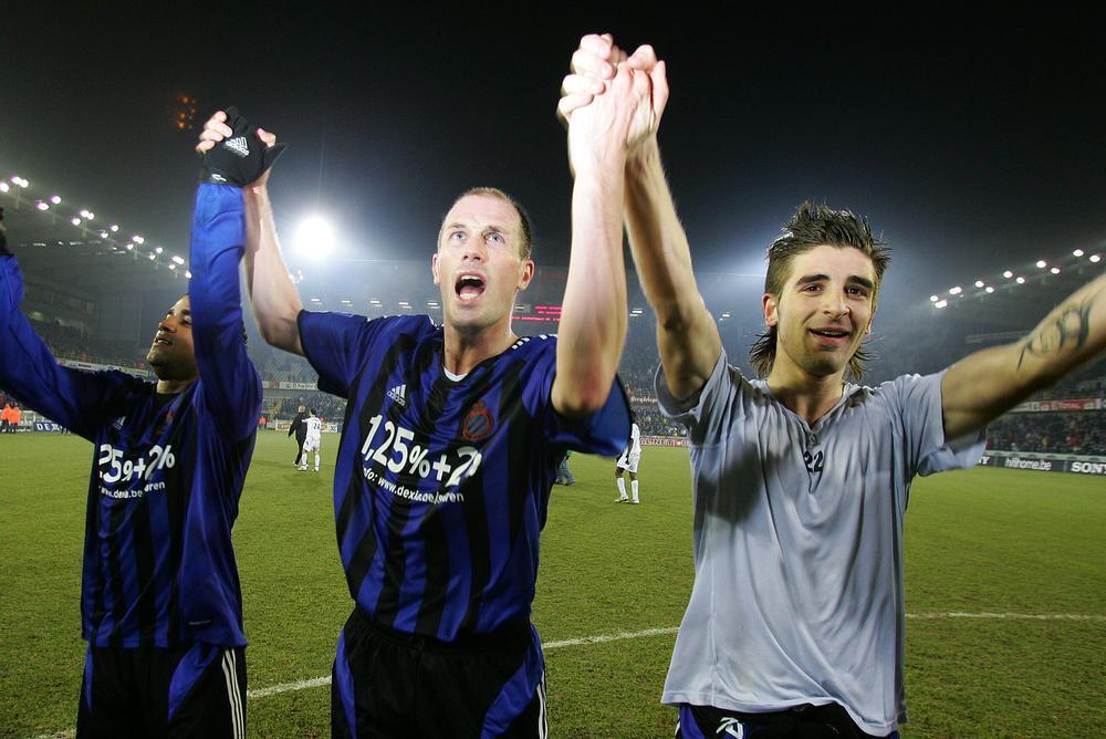 In februari 2006 vieren (v.l.n.r.) Jason Vandelannoite, Philippe Clement en Javier Portillo een zege van Club Brugge.