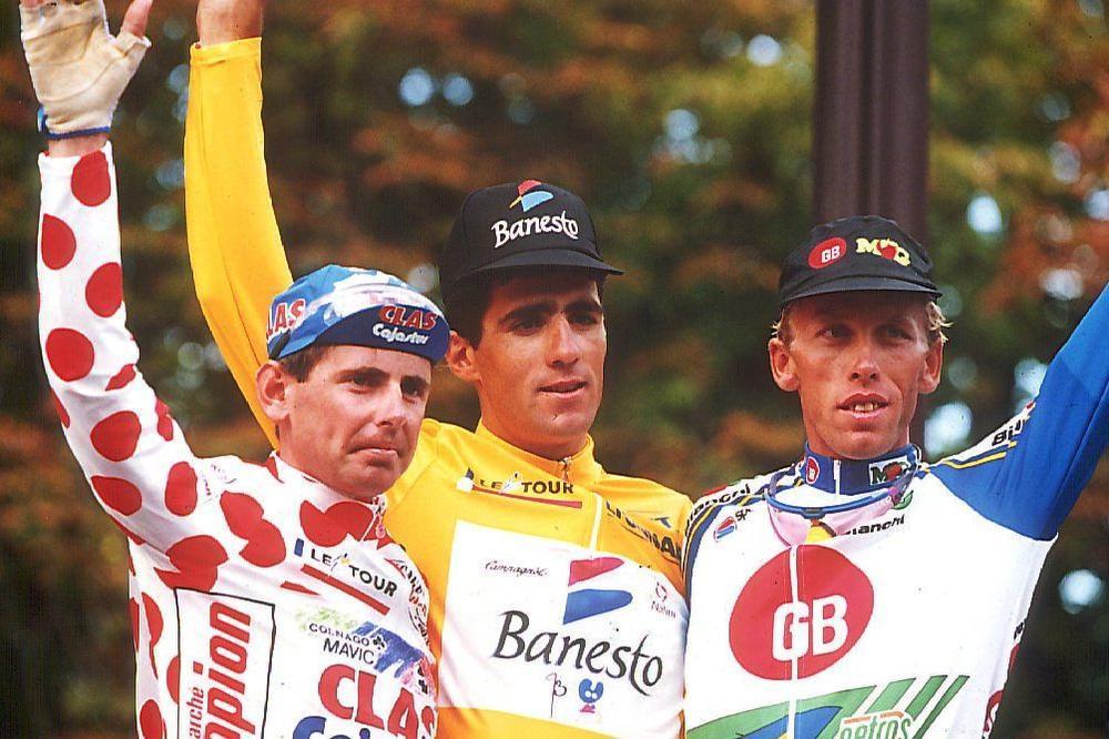 In 1993 boekte Lefevere zijn beste Tourresultaat tot nu toe: een derde plaats met Zenon Jaskula (rechts) na Miguel Indurain en Tony Rominger.