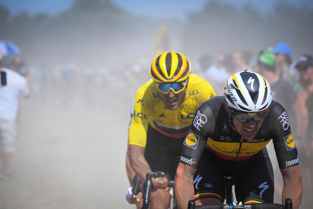 Een uitstekende Yves Lampaert werd derde in de kasseienrit naar Roubaix, strandde op een zucht van ritwinst in Parijs en stond Fernando Gaviria en Julian Alaphilippe bij. (Foto Belga)