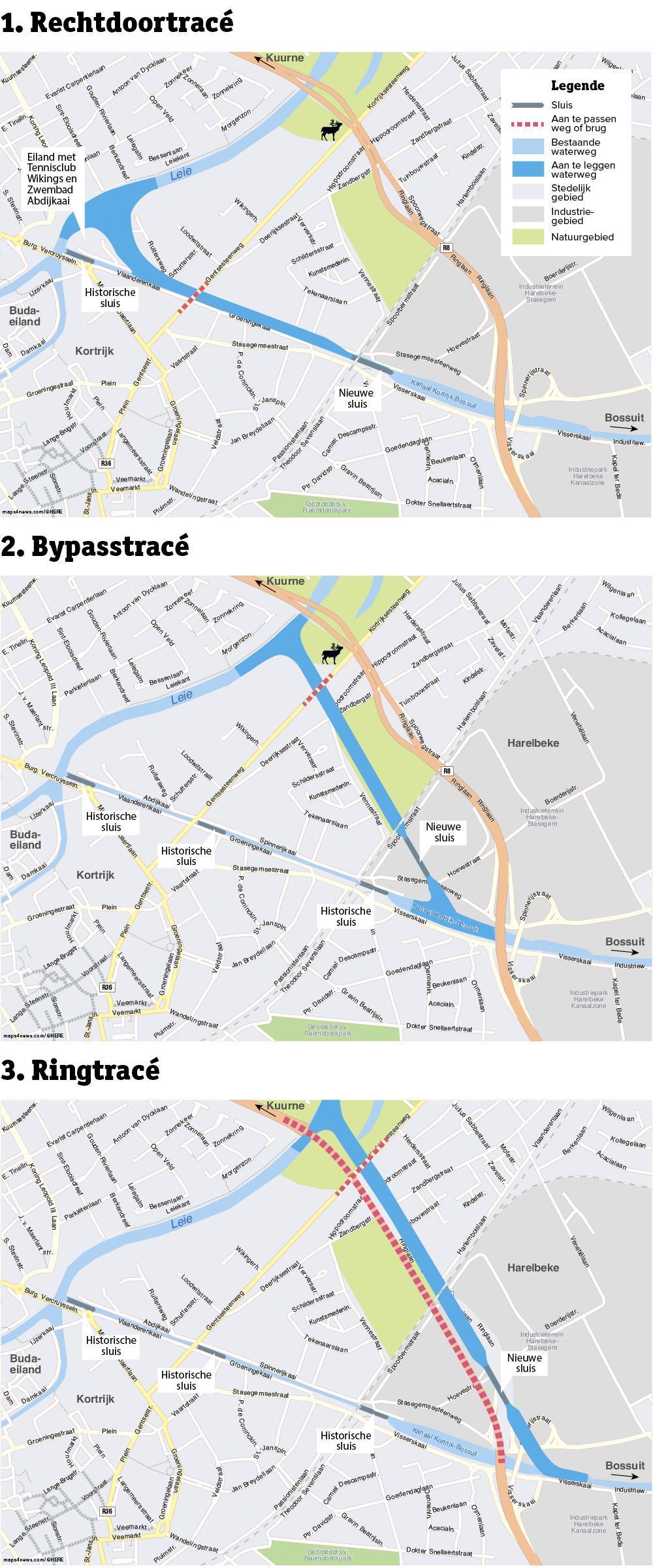 Rechtdoortracé: Het bestaande stuk wordt breder en dieper en de drie historische sluizen worden vervangen door één grote sluis, die het niveauverschil in één keer overbrugt.Bypasstracé: Er wordt een nieuw kanaal gegraven dat zoveel mogelijk de dichte bebouwing vermijdt. Hierdoor komt het kanaal in de deels open ruimte, waar onder andere de Venning ligt. Op de Gentsesteenweg komt een brug over het kanaal. De sluizen blijven behouden. Voor de R8 heeft dit tracé geen gevolgen.Ringtracé: De vaarweg én het stuk van de R8 kunnen samen ontworpen worden. De nieuwe infrastructuur kan dus zoveel mogelijk op elkaar worden afgestemd. Er is sprake van een tunnel, de sluis wordt in het nieuwe stuk kanaal gebouwd. De oude sluizen blijven.