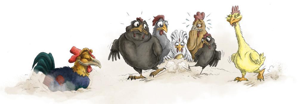 De haan en zijn vijf kippen.