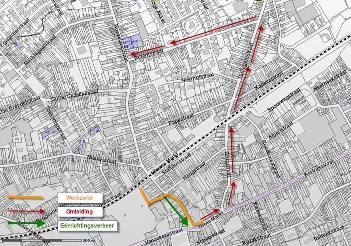 Tijdelijk eenrichtingsverkeer in Lode de Boningestraat in Wevelgem