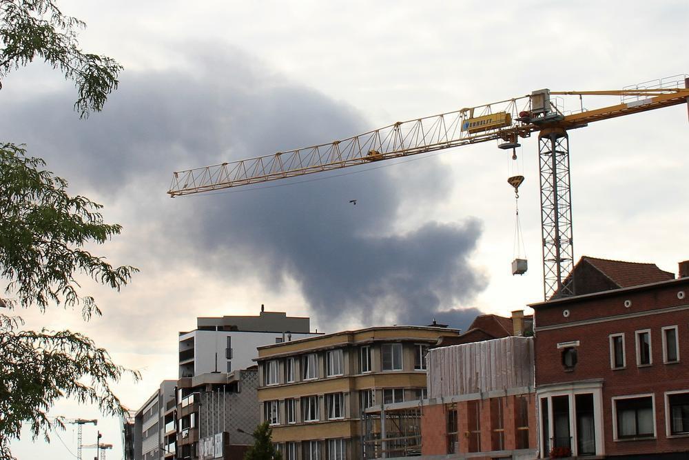 Rookpluim vanuit Kortrijk.