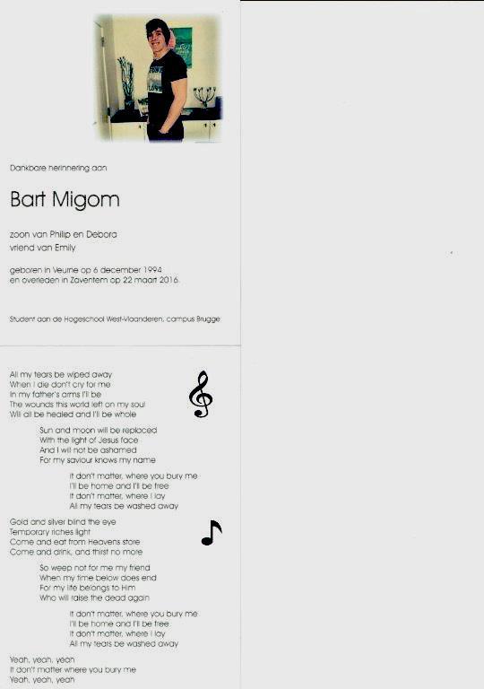 Emotioneel afscheid van terreurslachtoffer Bart Migom in Diksmuide