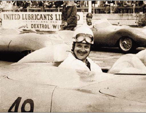 Christian Goethals in een Porsche in de Grote Prijs van Leopoldstad (Congo) in 1961, zijn laatste race.