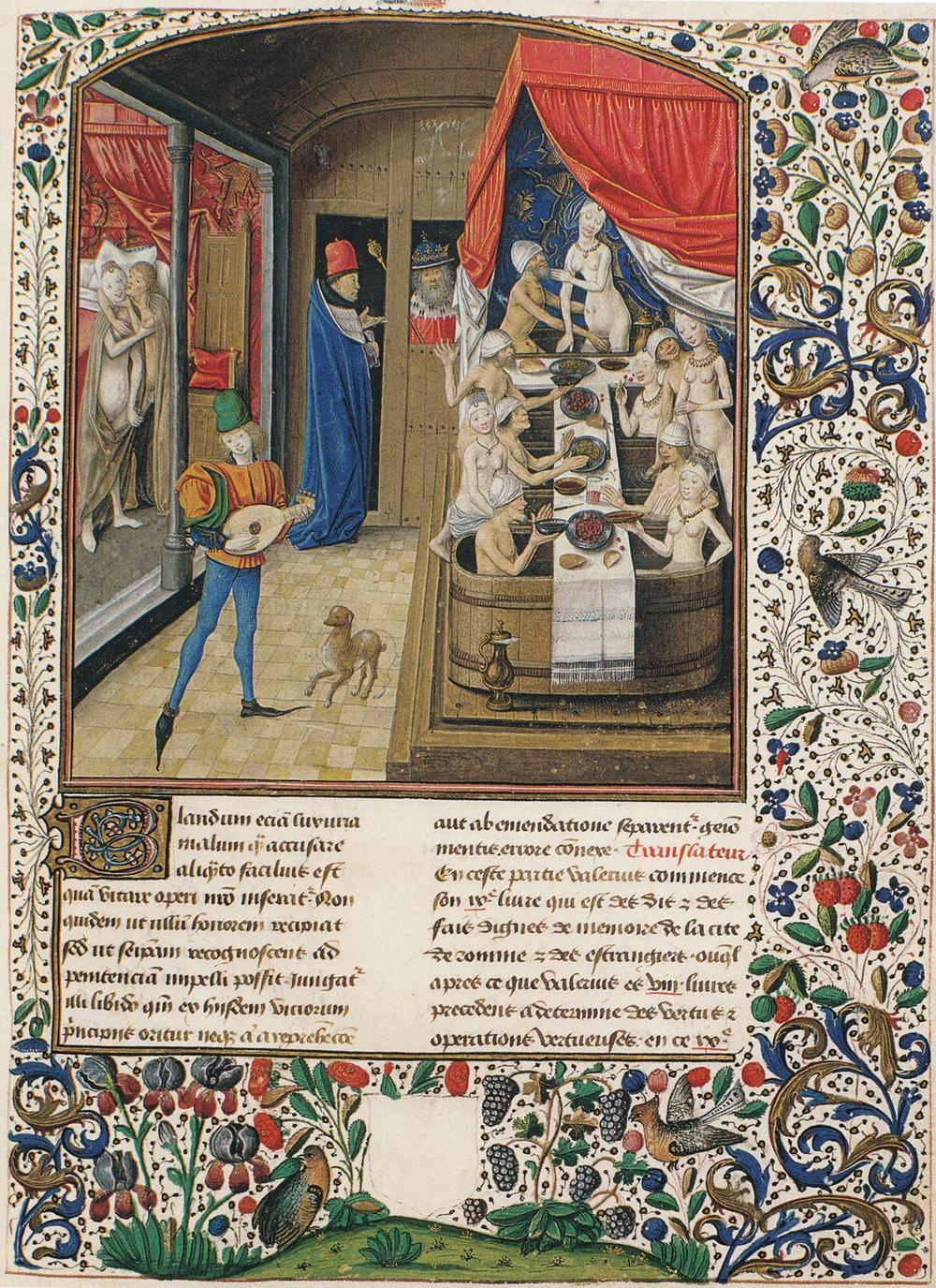 Een gemengde badstoof. Miniatuur geschilderd in 1470 door de in Brugge werkzame Philippe de Mazerolles. (GF)