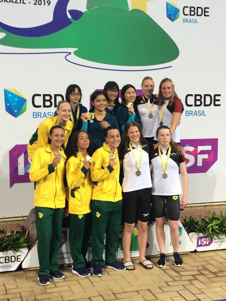 MOEV-delegatie aan het werk in Brazilië op ISF-wereldkampioenschappen zwemmen voor scholen