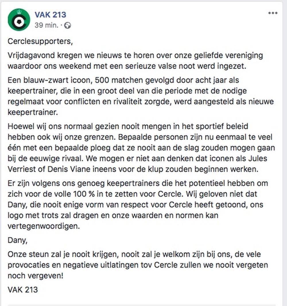 Opvallend: Fans Cercle Brugge willen Dany Verlinden niet