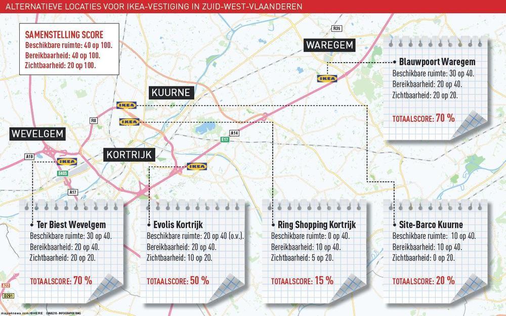De vijf mogelijke locaties die Ikea de voorbije maanden onderzocht. Uiteindelijk blijkt dus dat er geen nieuwe vestiging komt in Zuid-West-Vlaanderen.