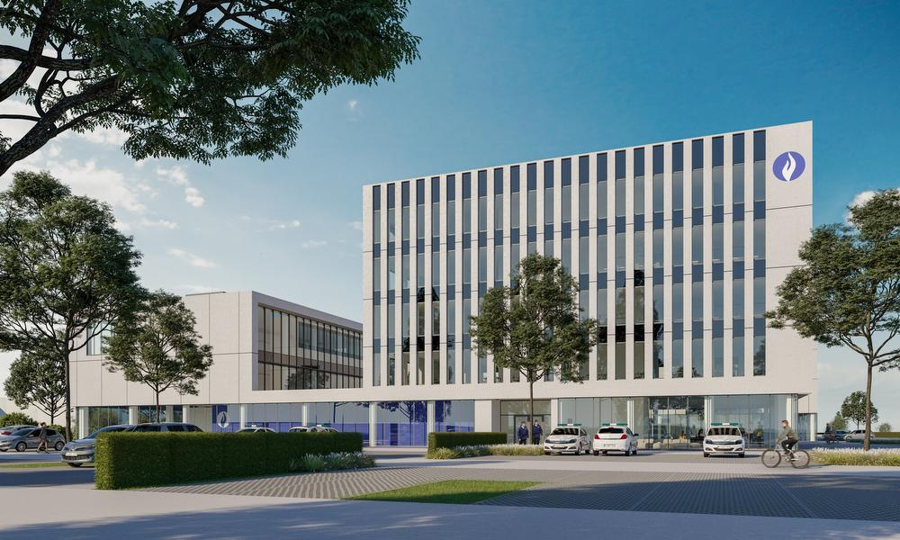 Een 3D-visualisatie van het nieuwe gebouw.