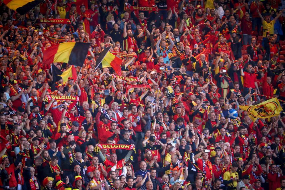 De Belgische supporters kirden van plezier in Hampden Park.