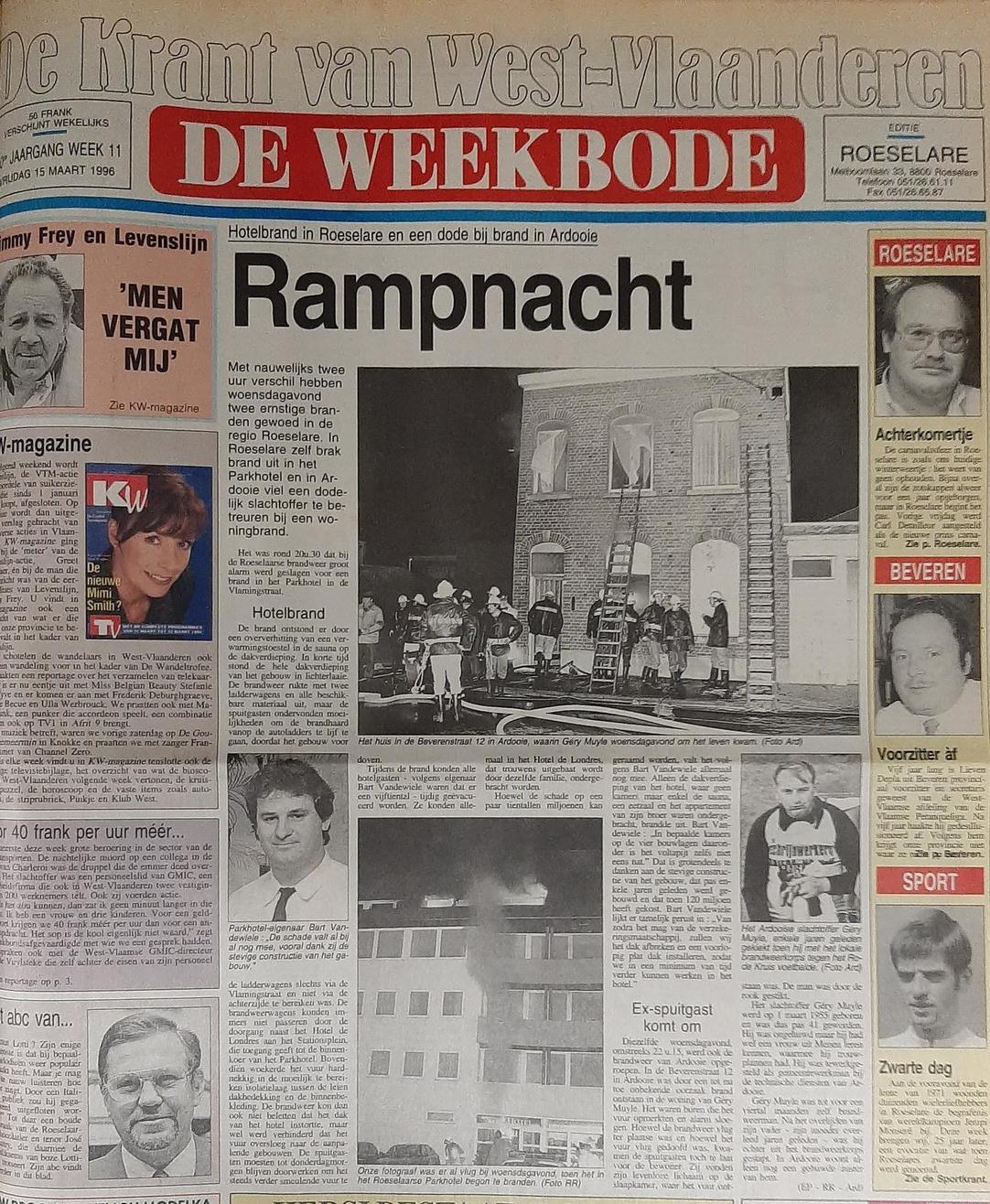 De voorpagina van onze krant destijds. (archief KW)