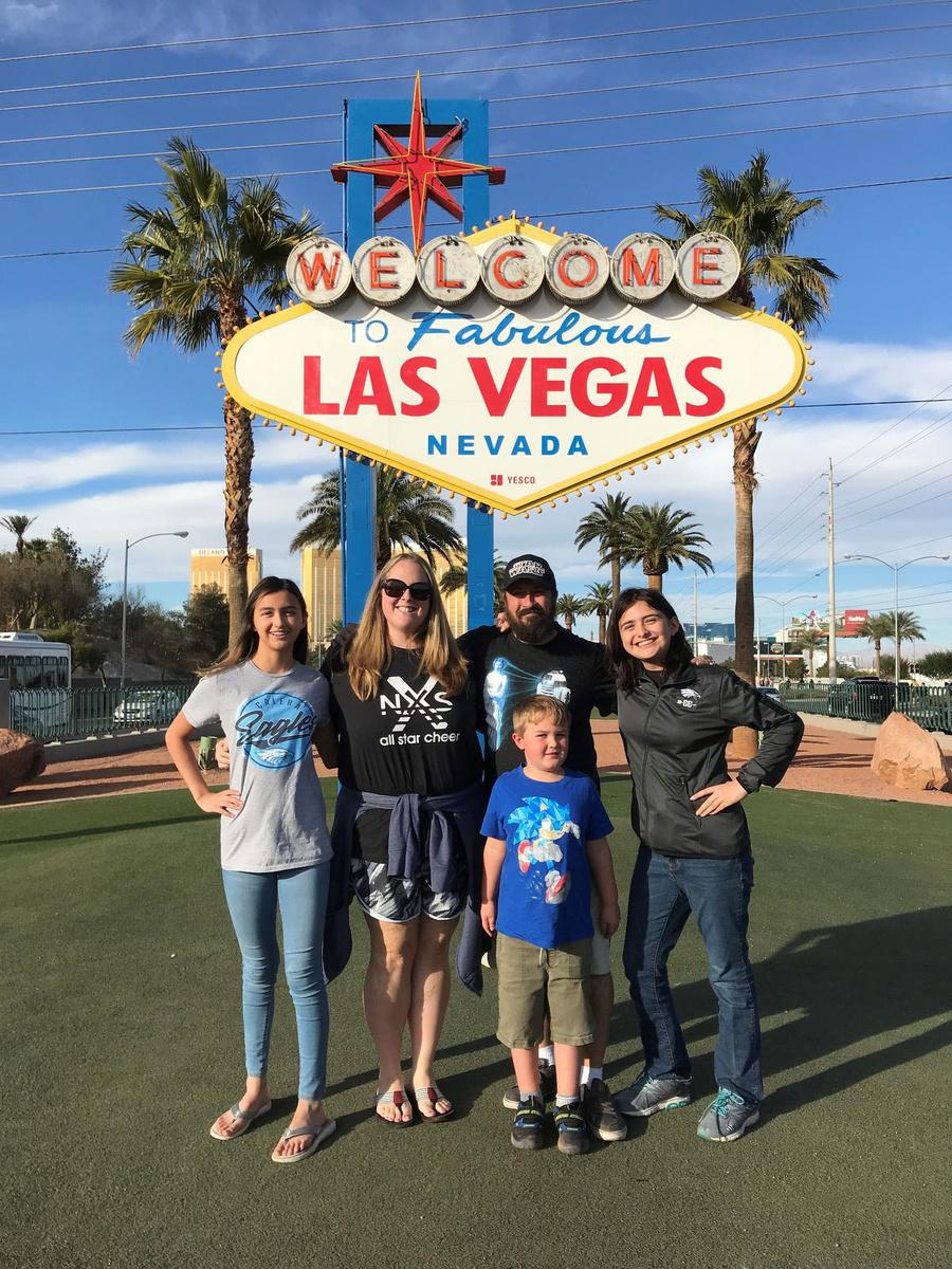 Kurt De Klerck en zijn gezin op reis in Las Vegas.
