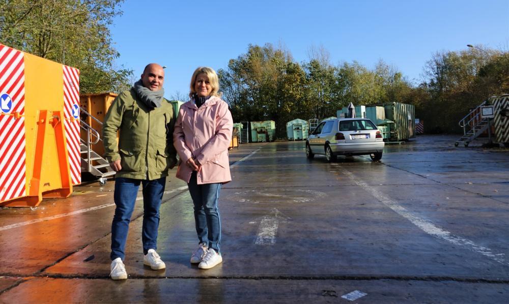 Oppositieraadsleden David Wemel en Cathy Matthieu (Groen). (