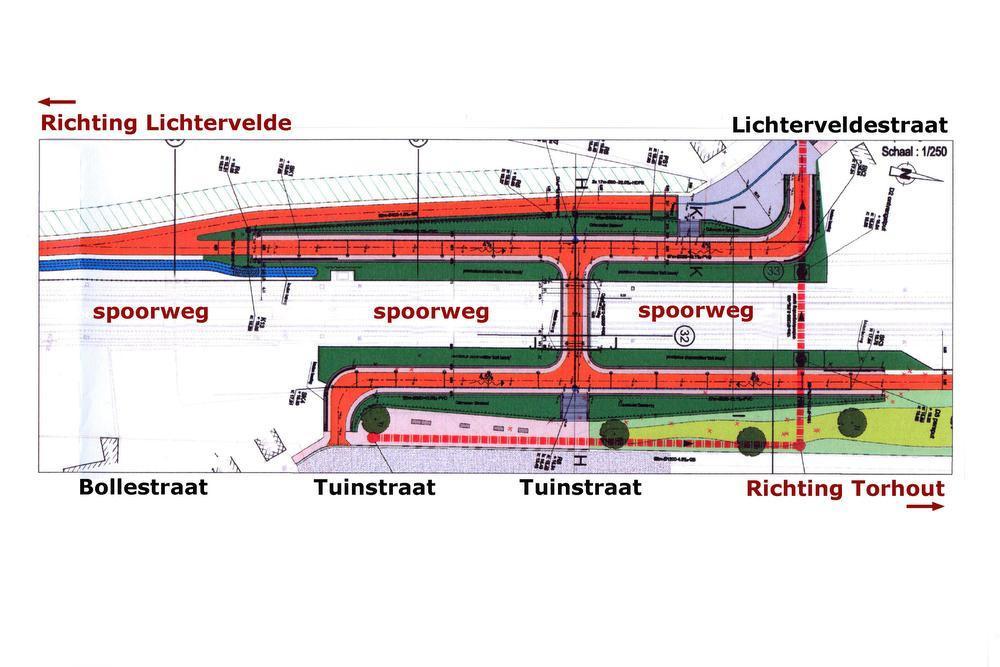 Een plannetje van de locatie waar de fietstunnel onder de spoorweg voorzien is. Op deze plaats zal de fietssnelweg aansluiten op de Lichtervelde-, de Bolle- en de Tuinstraat.
