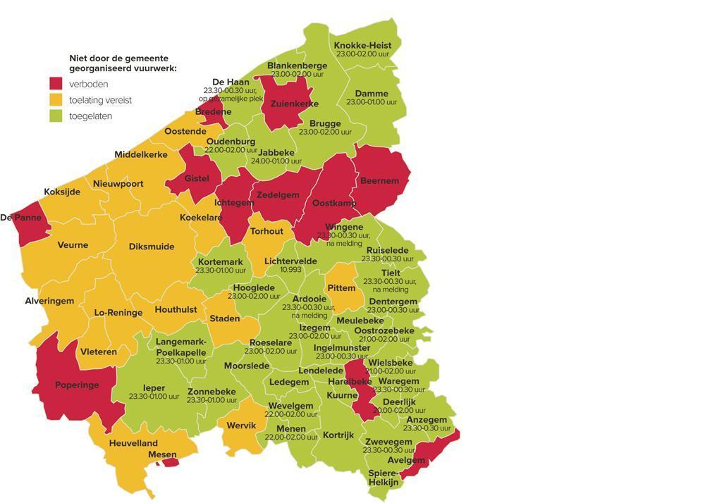 Uit rondvraag van Krant van West-Vlaanderen blijkt dat slechts in twaalf gemeentes een algemeen verbod op vuurwerk geldt.