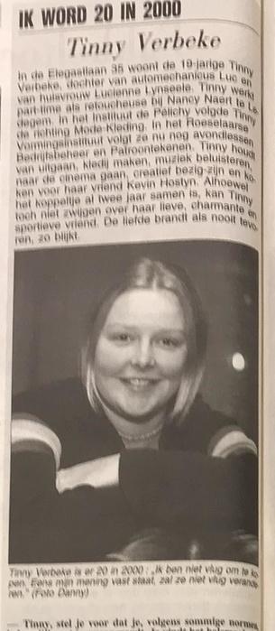 Tinny Verbeke was 20 in 2000: