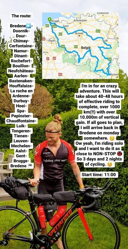 Krak van Bredene Matthieu Bonne maakt fietstocht door België