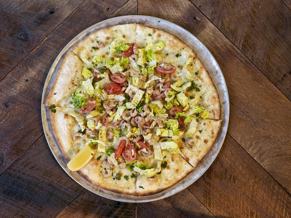 De bewuste pizza Tomate Crevettes.