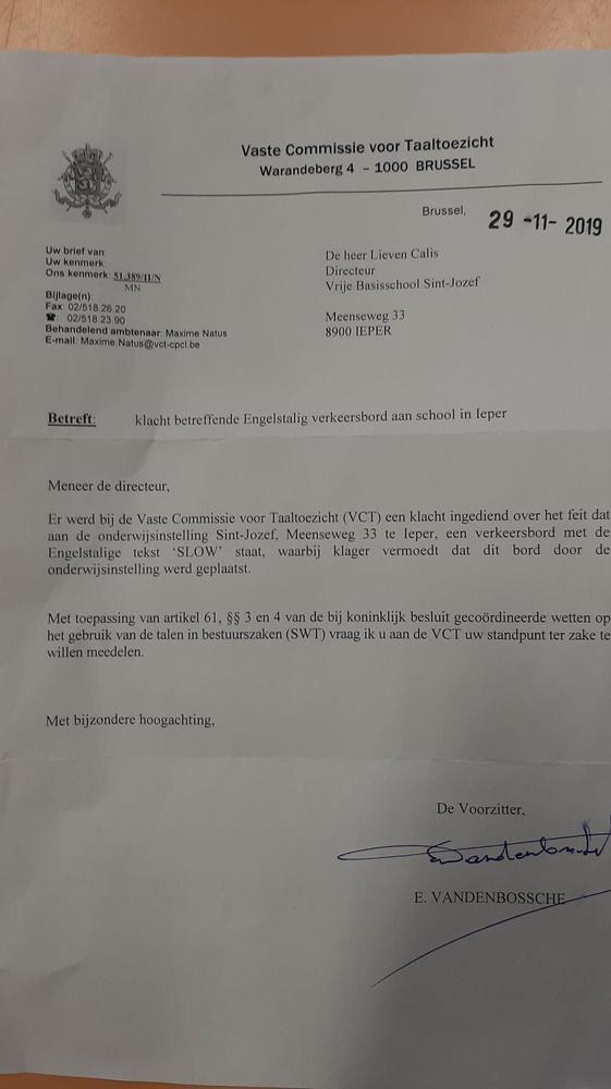 De brief die de school ontving van de VCT. (gf)