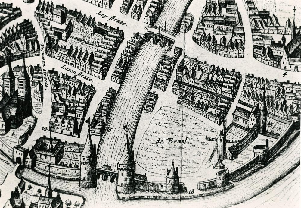 Een kaart van Kortrijk getekend door Louis de Bersaques in 1640.