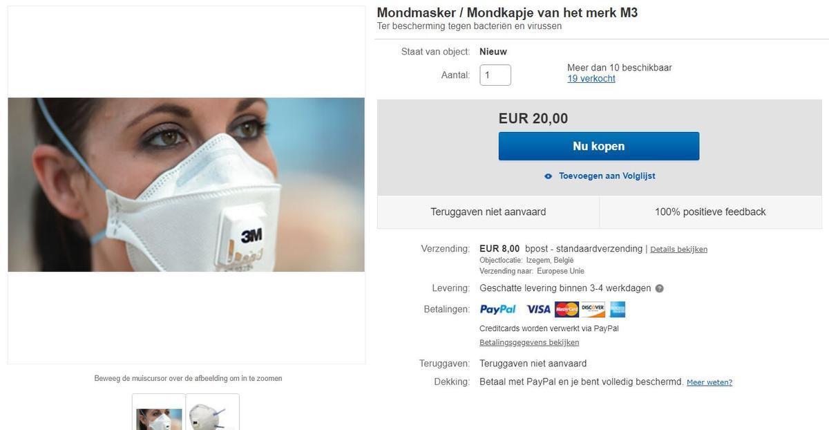 Eén mondmasker voor 20 euro. (GF)