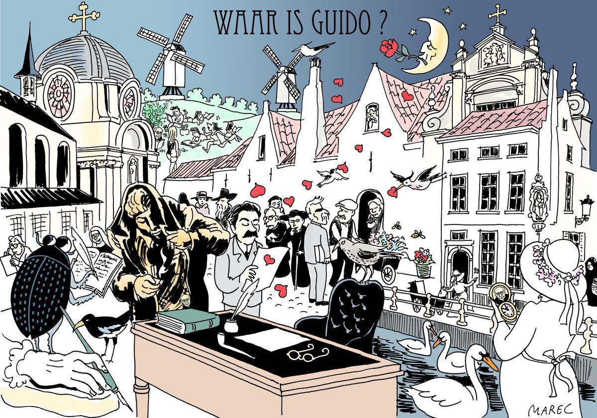 Marec heeft in zijn cartoon op drie plaatsen Guido Gezelle verborgen. Rechts zien we Lady Smith met het gouden horloge. Op de achtergrond het huis van Gezelle langs de Verversdijk. Centraal het bureau van Gezelle.