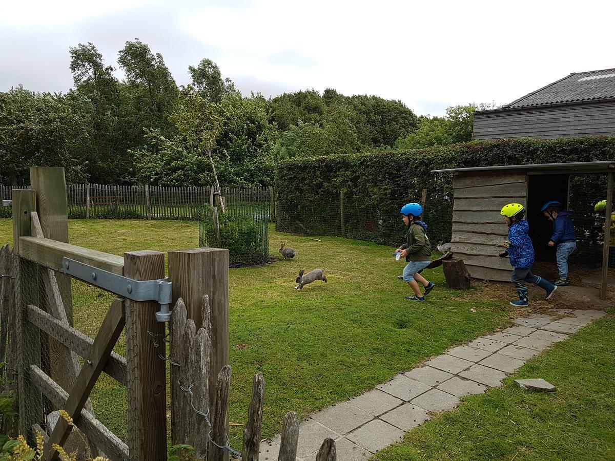 Aan het bezoekerscentrum leven kinderen zich uit... bij de konijnen.