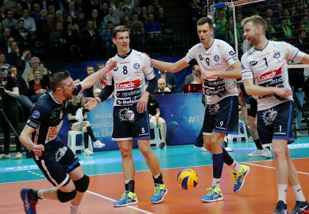 De libero van Knack Volley Roeselare tijdens de gewonnen bekerfinale gisteren in het Sportpaleis.