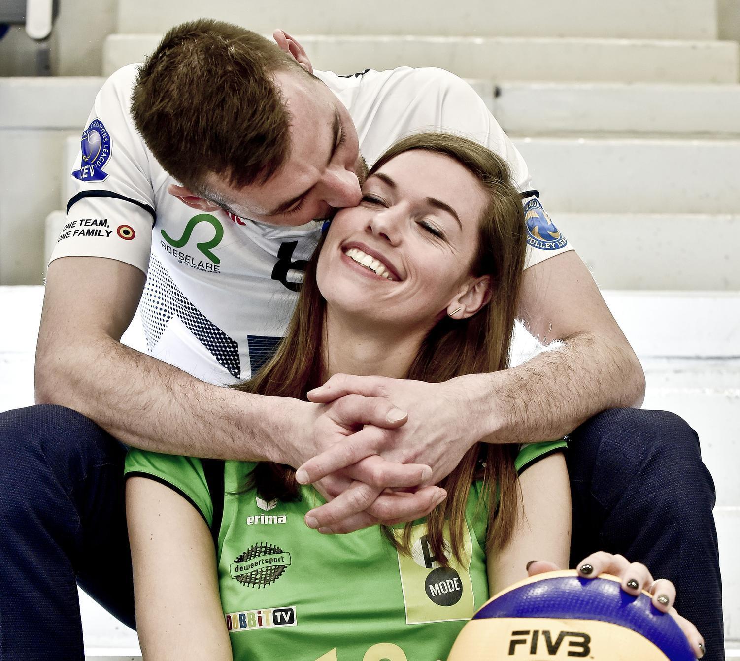 Stijn Dejonckheere (Knack Volley) en echtgenote Celine Platteeuw (Hermes Oostende) dromen van dubbele bekerwinst
