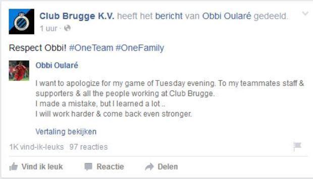 De excuses op Facebook werden prompt gedeeld door Club Brugge.