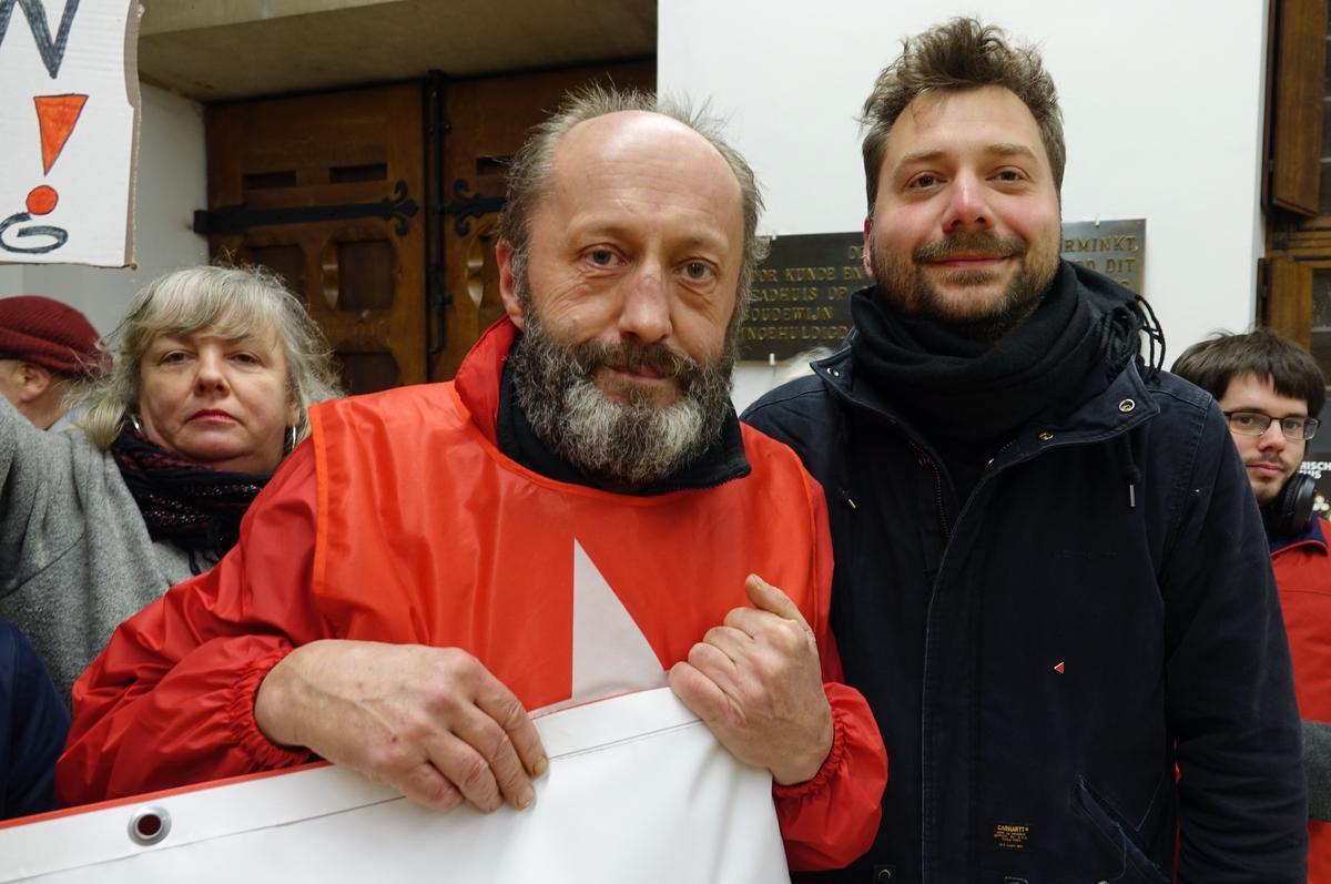 Bruno Nijs en Jouwe Vanhoutteghem, voorzitter van PVDA Kortrijk.