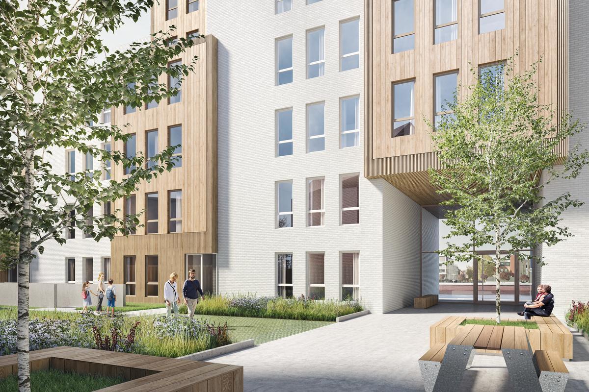 Een binnentuin van 500 m² moet de bewoners wat ademruimte geven.