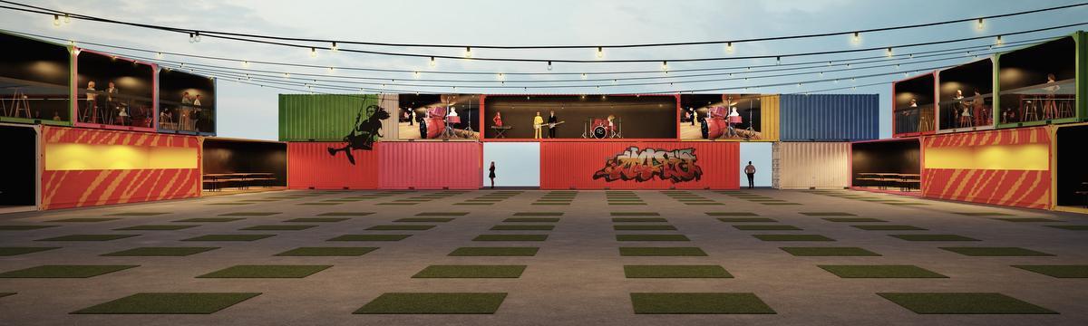 Ook het podium zal zich in een container bevinden.