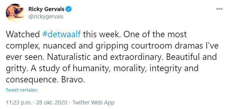 De tweet van Ricky Gervais over De Twaalf. (Foto Twitter)