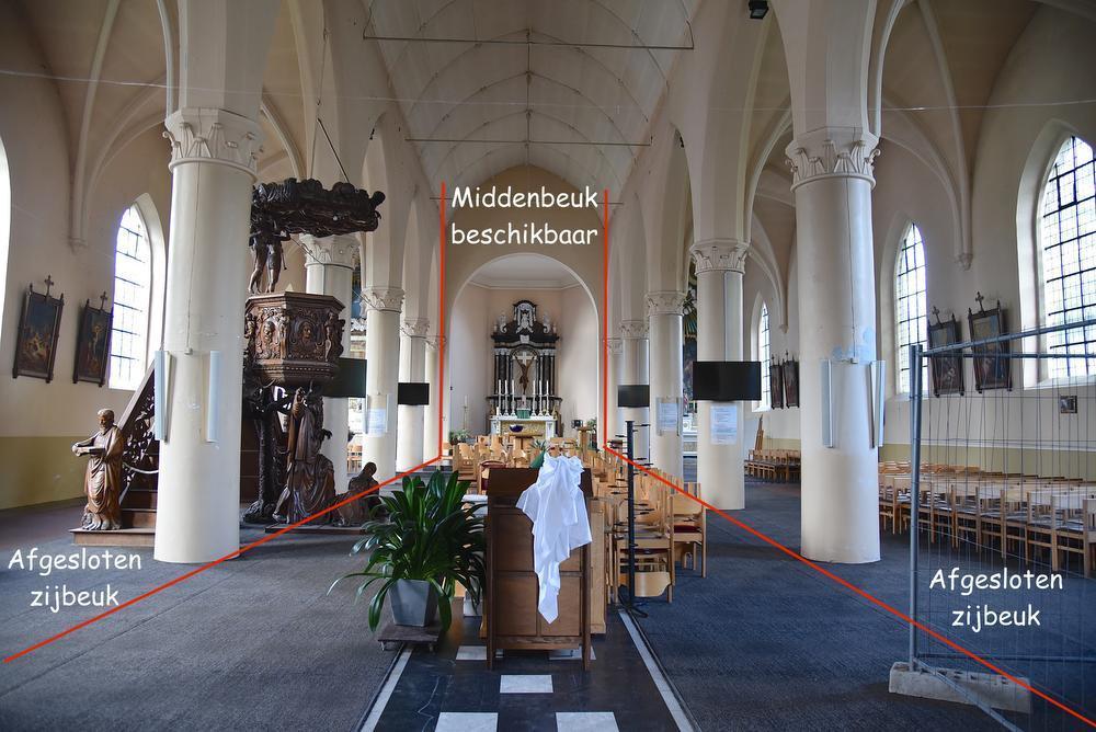 Zijbeuken van Ichtegemse Sint-Michielskerk afgesloten, capaciteit halveert