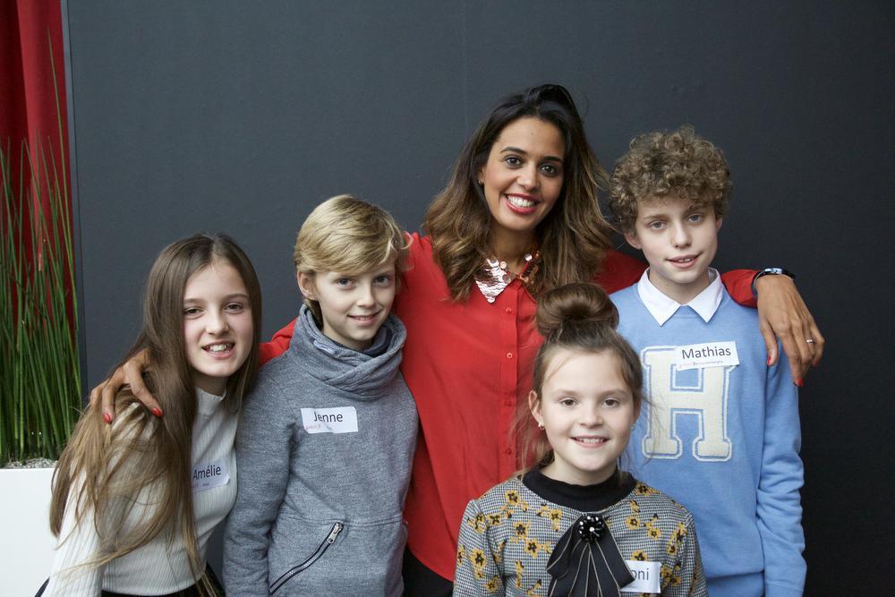 Amelie, Jenne, Nooni en Mathias met tussenin Tatyana Beloy.