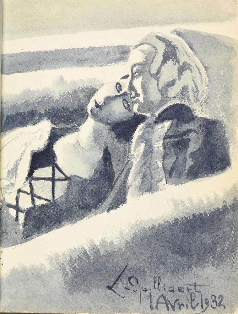 Leon Spilliaert tekende deze grisaille in het vriendenboekje.