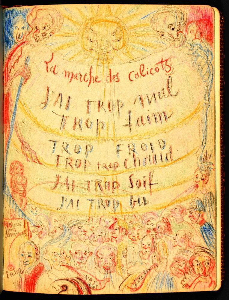 James Ensor maakte deze tekening in het poëziealbum.