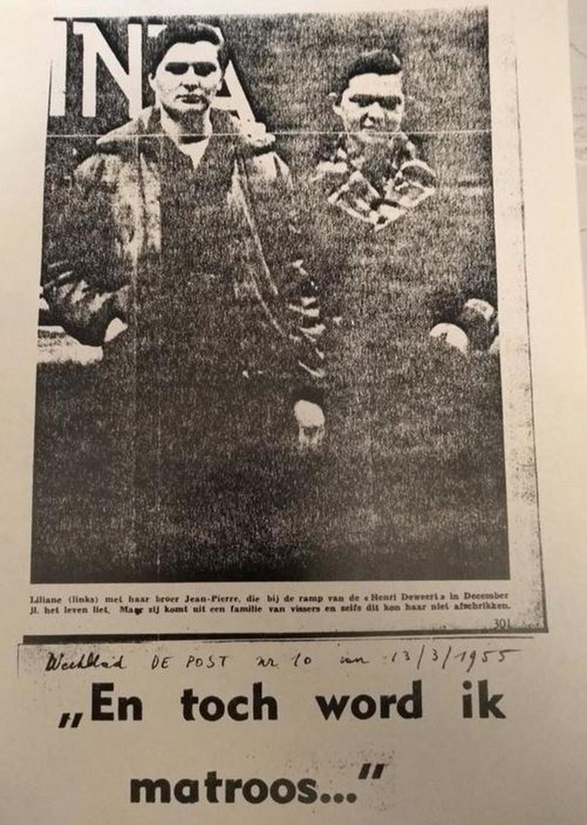 Liliane (links) verloor haar broer Jean-Pierre (rechts) in 1954 bij een scheepsramp. Maar dat weerhield haar er niet van om haar droom te willen waarmaken.