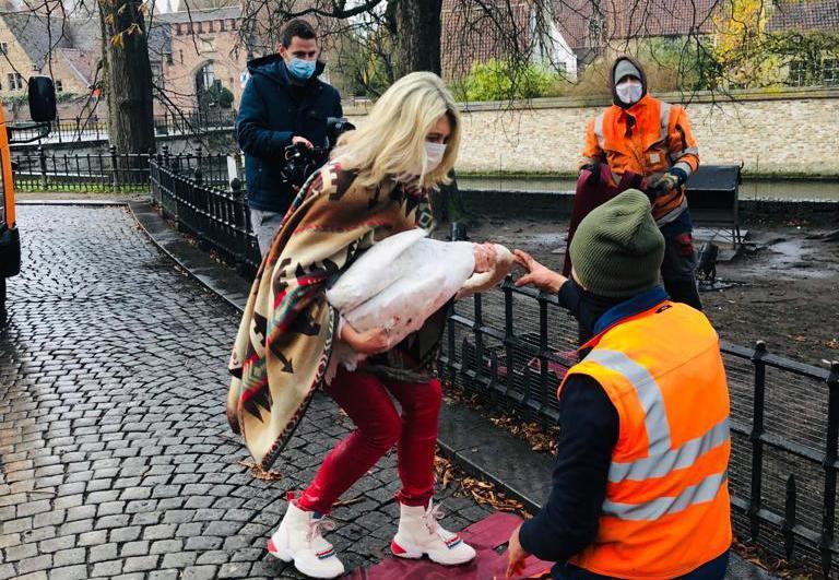 Schepen Mercedes Van Volcem hielp mee de zwanen ophokken. (foto gf)