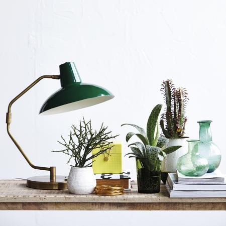 On adore l'association de la lampe vintage, du bois naturel et des plantes vertes.