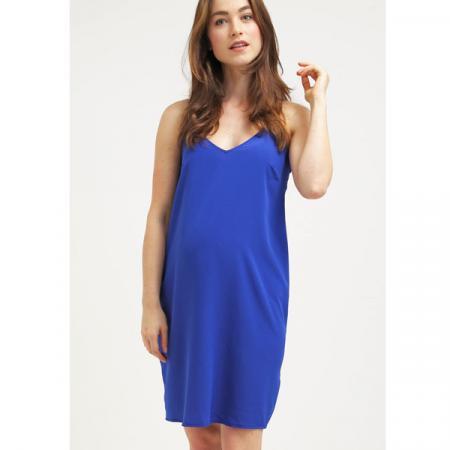 Blauwe jurk met spaghettibandjes
